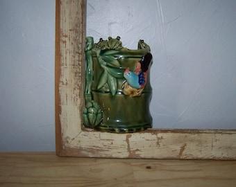 Majolica Bamboo Vase Frogs on Bamboo Vintage Majolica Vase Majolica Planter