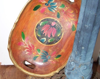 Mexican Wooden Tray Handpainted Vintage Tray Mexican Tray