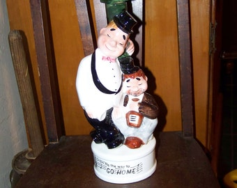 Laurel and Hardy Whiskey Decanter Music Box Liquor Decanter Laurel and Hardy Music Box