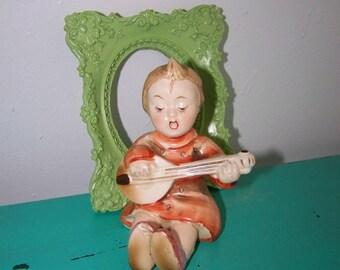 Vintage Girl Figurine Playing Mandolin Goldcastle