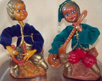 Mid Century Troubadors Musician Figurines Troubador Figurines Musical Figurines