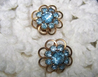 Vintage Earrings Blue Rhinestone Earrings