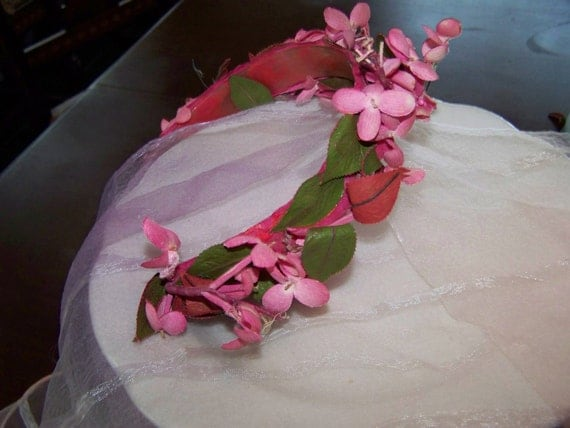 Pink Floral Headband Vintage Ladies Headband Pink Flower Headband Easter Headband