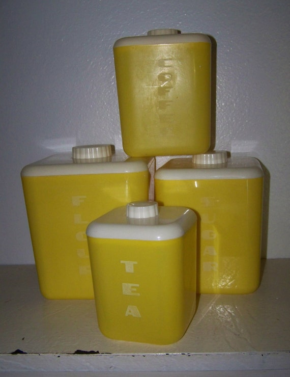 Retro Bright Yellow Cannister Set