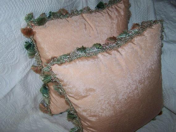 Vintage Throw Pillows Cushions Peach