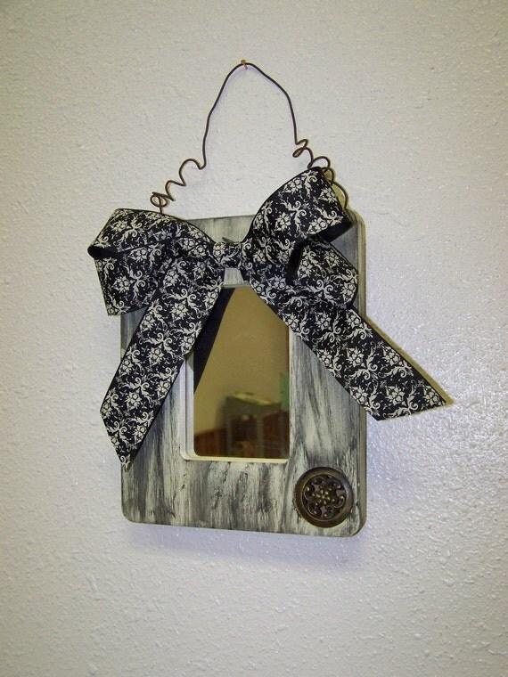 Upcycled Mirror Shabby Chic Black Cream Mirror