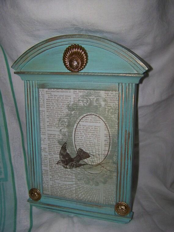 Upcycled Aqua Frame Vintage Jewelry Embellished Frame