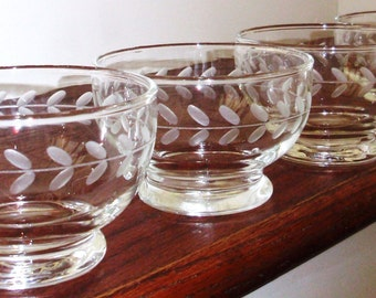 4 ANCHOR HOCKING BOWLS Clear Crystal Cut Laurel Vintage Dessert Sherbet Custard Pudding Cups Discontinued Excellent Condition