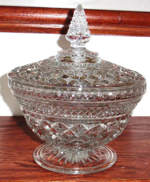 Anchor Hocking Wexford Heavy Crystal Candy Dish Bowl With Lid