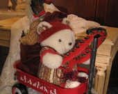 Santa Bear with Toy Sack in Wagon Sleigh