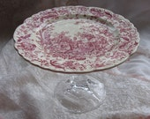 Red Toile  Pedestal Serving Plate