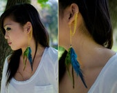 Double Chain Feather Earring with Cuff