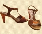 Late 70s T-Strap Brown and Orange Suede Dezario Sandals Size 6