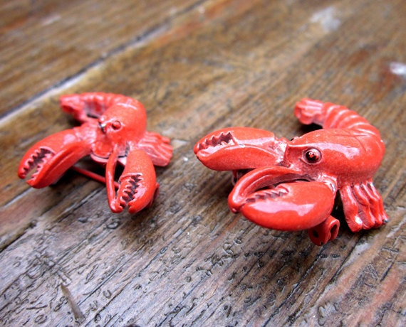Set of 2 VINTAGE Red Enamel Realistic Lobster Brooches