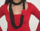 Black Jersey Knit T Shirt Scarf with Red Brooch