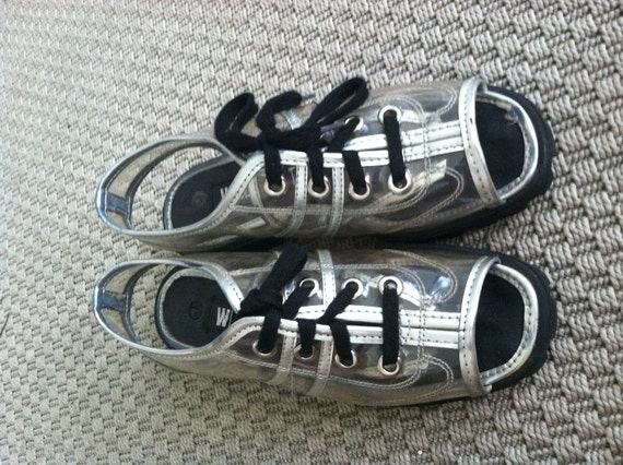 Vintage Avant Garde Metallic Clear See Through Peep Toe Jelly Jellies Lace Up Sneaker Punk Plastic Wedge 90s 80s Tumblr Rave Sandal Shoe 7