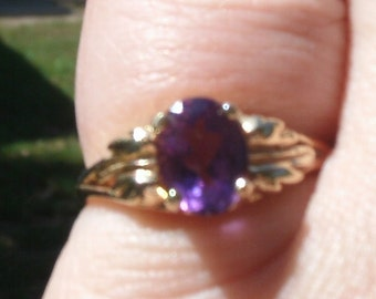 14K Amethyst Ring Size 6 with FREE Shipping