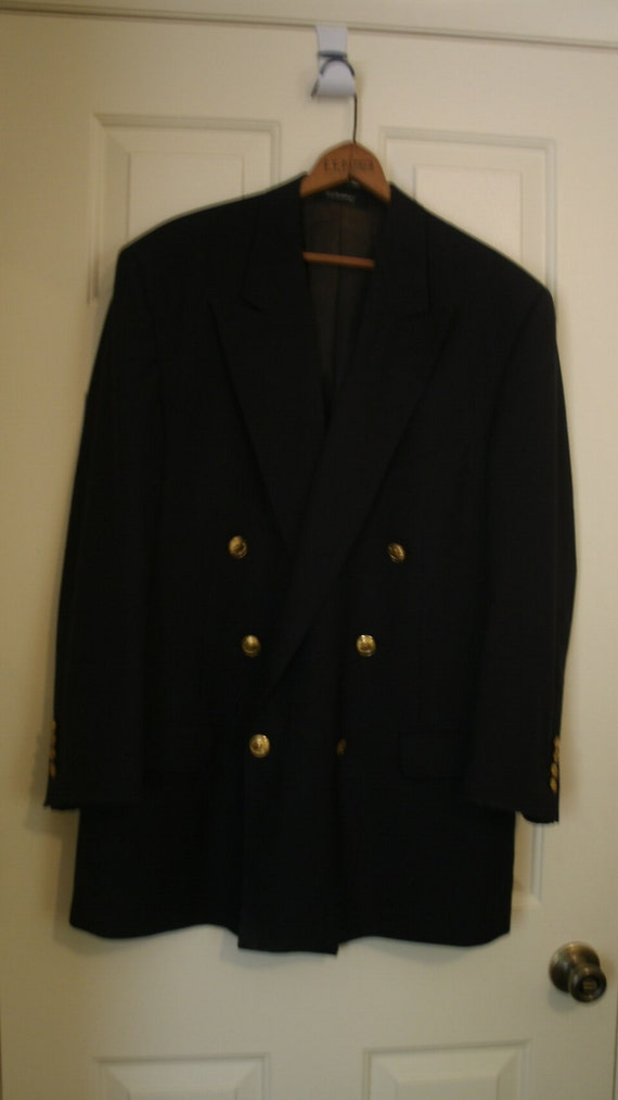 Classic Burberry Navy Blue Jacket with Gold tone Buttons
