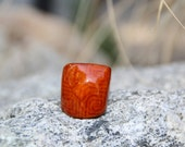 Tagua, Palm Tree Nut, Ring Biodegradable Natural Vegetable Palm Ivory Orange Earth Tone Color (size 7.5)