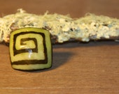 Tagua, Palm Tree Nut, Ring Biodegradable Natural Vegetable Ivory Black Green Brown Stripes Spiral Geometric Print (size 7.5)