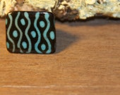Tagua, Palm Tree Nut, Ring Biodegradable Natural Vegetable  Ivory Blue Dots Stripes Spiral Geometric Print (size 6.25)