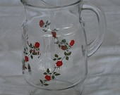 Vintage Glass Pitcher with long stem red roses - likely 1950s