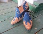Vintage Denim & Leather Short Cowboy Boots 7W