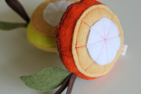 BABY toy Juicy Fruit Squeaker / eco friendly handmade repurposed fabric / Soft felt / Stroller friendly