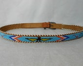 Vintage 1970s Beaded Native American Belt Size 36