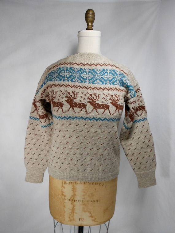 1960s Nordic Reindeer Sweater Size Large