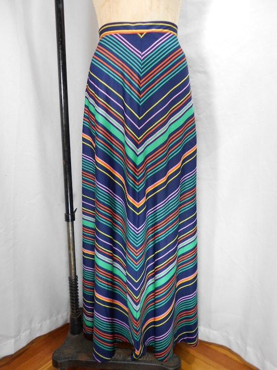 Vintage 1970s Chevron Maxi Skirt Size 8