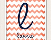 Personalized Custom Wall Art Print - Chevron Zig Zag Wedding Baby Nursery Kids Children Family Names Home Decor Wall Decor Wall Print