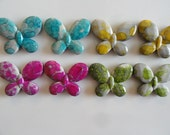 Butterfly Beads Colorful Paint Splattered Assortment Gray Tint (16) Acrylic 3/4 inch DIY Crafts Decoden