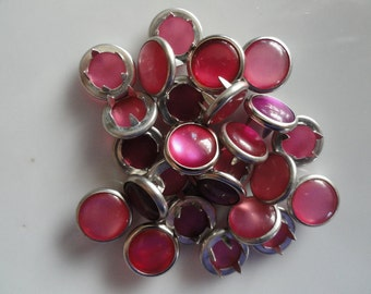50 Pinks Assortment Pearl Snaps Set  4-Part Prong Size 16