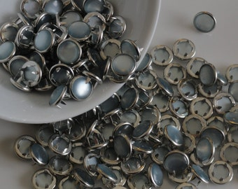12 Light Blue Pearl Snaps Set  4 Part Prong Size 16 Cowboy Cowgirl