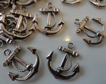 50 Anchor Charms Antique Silver Finish Tibetan Style