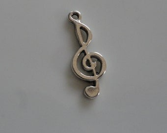 CLEARANCE Music Note Treble Clef Charm (24) Antiqued Silver Finish Tibetan Style 1 Inch