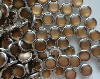 25 Pearl Snap Sets - Copper Brown 4-Part No-Sew Size 16 Cowboy Cowgirl