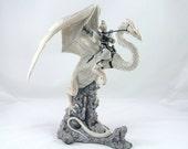 RESERVED - Enchantica Limited Edition Dragon Figurine Wargren and Snowthorn, Dragon Decor, Fantasy Decor, Vintage Dragon,  White Dragon