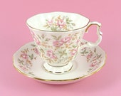 Vintage Royal Albert Tea Cup and Saucer Pink Brocade Rose Chintz Bone China England 1980s