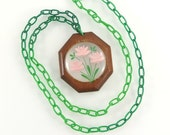 Vintage Lucite Necklace Reverse Carved Pink Flowers Green Celluloid Plastic Chain Brown Wood Hand Painted Flower Jewelry