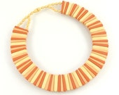 Vintage Collar Necklace, Cleopatra Style, Vintage Plastic Jewelry, Possibly Avon,  Yellow Coral Orange Salmon Autumn Colors, Nickel Free