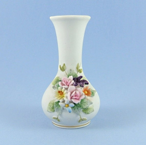 Items Similar To Vintage Lefton China Vase Kw1847 Collectible Miniature Vase 1950s Bisque
