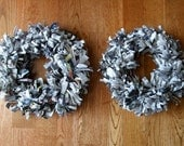 Fluffy Fringy Newspaper Wreaths for Your DIY Crafting Projects--lot of 2