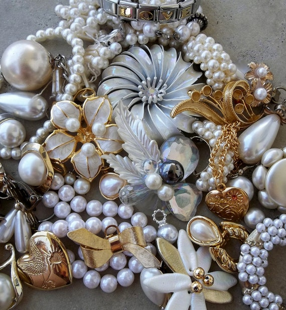 Nice Day for a White Wedding Destash--lot of 30plus items for Bridal Bouquets and Assemblages