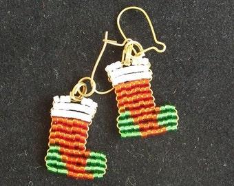 Beaded Christmas Stockings Earrings