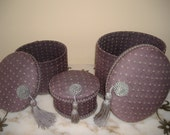 Purple Vanity Decorative Fabric Tassel Oval Boxes / Cache Trio Set Unique NOS