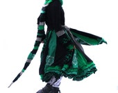 RESERVED (first payment) Elf Coat, Upcycled, Recycled, Sweaters, Black and Green, Long Hood