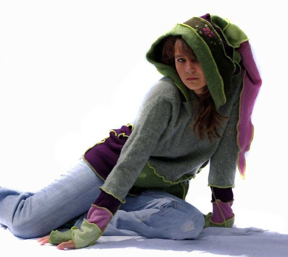 Reserved for Diane, Sweater Hoodie, Elf Hood, Upcycled, Recycled, Wool, Gray, Purple, Pink and Green