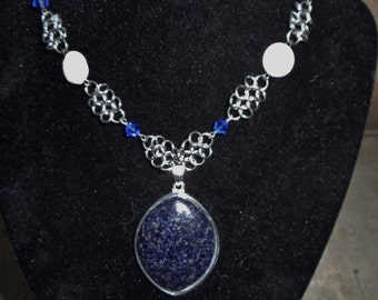 Lapis European Chainmaille necklace